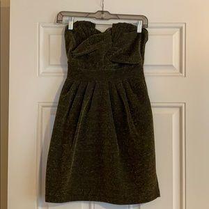 H&M gold sparkly strapless dress
